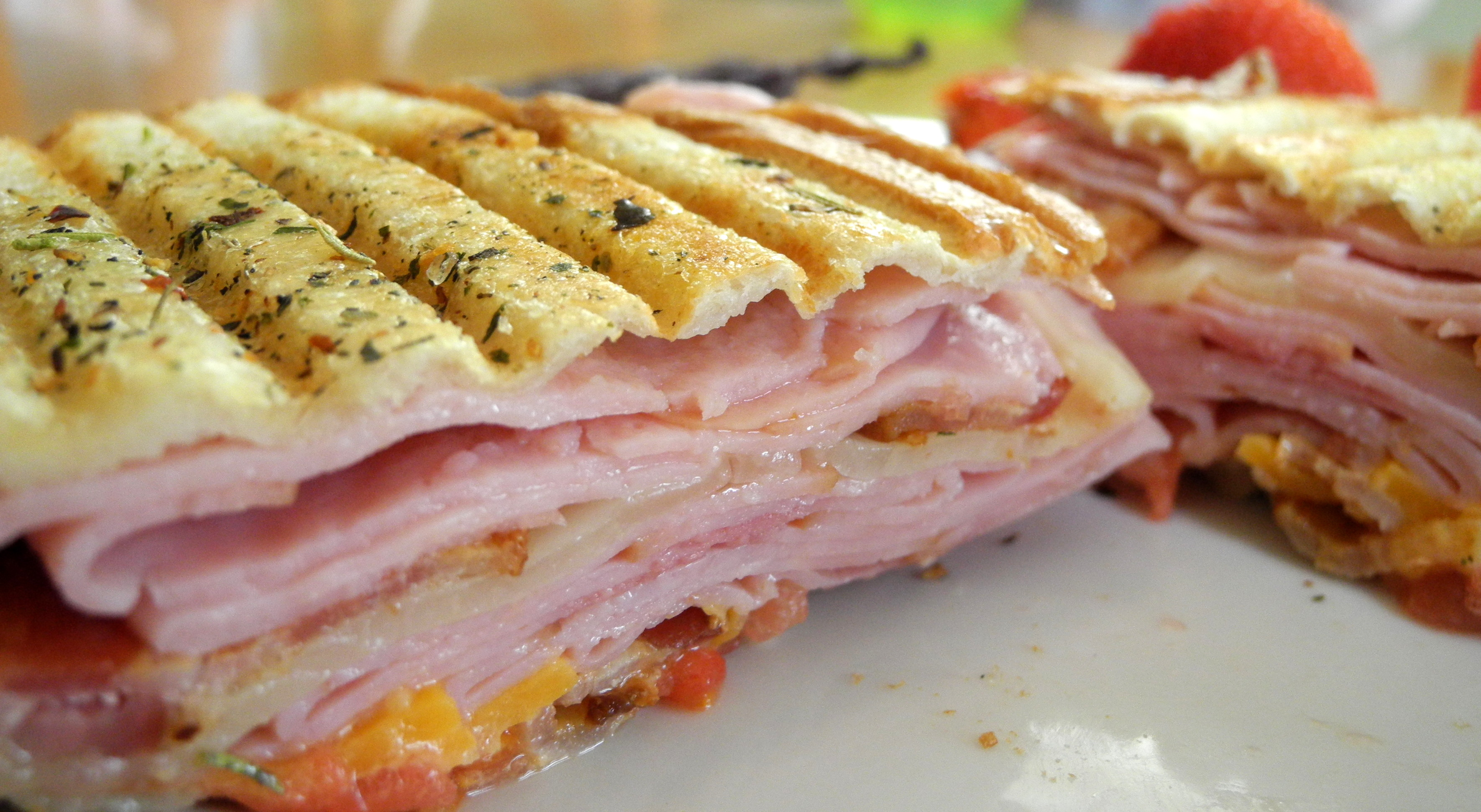 Turkey, ham, bacon, provolone and cheddar cheese, tomato, and a mix of ...